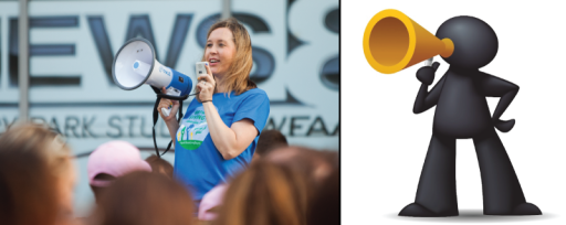 North Texas Giving Day Ambassador of Buzz, Claire Hodges and her megaphone