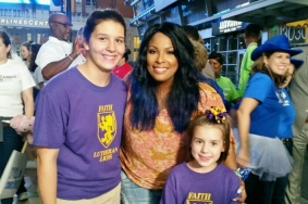DJ Spinderella with FLS students
