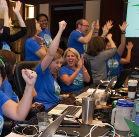 Big cheers from the North Texas Giving Day team when the record-breaking donation amount was reached in 2015