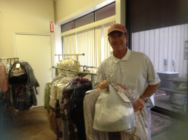 Staff Member leaves with clothing delivery (2)